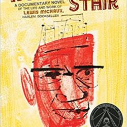 The cover of No Crystal Stair. It has a yellow background and an impressionistic drawing of Lewis Michaux's face on it.
